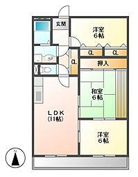 愛知県名古屋市守山区城南町の賃貸マンションの間取り