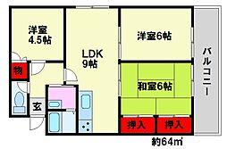 福岡県福岡市南区和田4丁目の賃貸マンションの間取り