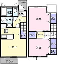[テラスハウス] 東京都八王子市泉町 の賃貸【東京都 / 八王子市】の間取り
