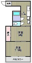 三国ヶ丘マンションわいわいビル[4階]の間取り