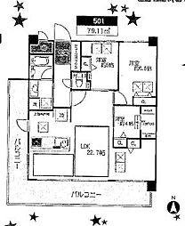 ドルチェヴィータ西宮北口[6F号室]の間取り