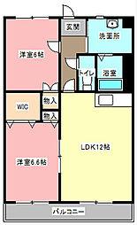 静岡県浜松市東区半田山6丁目の賃貸マンションの間取り