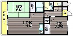 東京都調布市緑ケ丘2の賃貸マンションの間取り