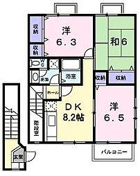 香川県丸亀市飯山町下法軍寺の賃貸アパートの間取り