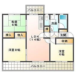 新多聞第3住宅213号棟[5階]の間取り