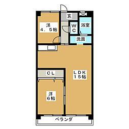愛知県名古屋市名東区神丘町2の賃貸マンションの間取り