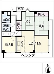 ルモン覚王山[2階]の間取り