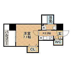 Apartment Grus Okamachi 7階1Kの間取り