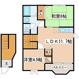 クレストール福井A棟[2階]の間取り