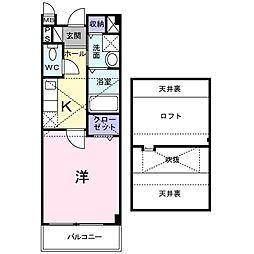 Osaka Metro谷町線 守口駅 徒歩11分の賃貸アパート 2階1Kの間取り
