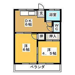 有王荘アパート[2階]の間取り