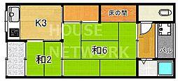 銀鶴ハウス[1-B号室号室]の間取り