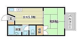 メゾン堀川[C203号室]の間取り