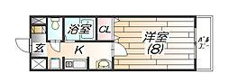 兵庫県三田市宮脇の賃貸マンションの間取り