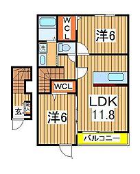 千葉県白井市富塚の賃貸アパートの間取り