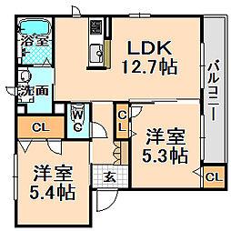 兵庫県伊丹市野間8丁目の賃貸マンションの間取り