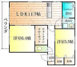 大阪府藤井寺市惣社1丁目の賃貸アパートの間取り