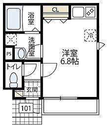 (正式)リュエル(仮称)エルメゾン東川島町[101号室号室]の間取り