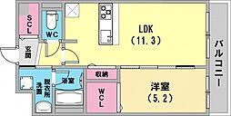 アウルムグランデ 2階1LDKの間取り