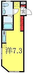 東武東上線 大山駅 徒歩9分の賃貸マンション 4階ワンルームの間取り