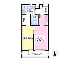 熊本電気鉄道 堀川駅 徒歩5分の賃貸マンション 4階1DKの間取り