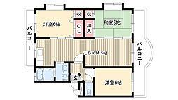 ガーデンハイツA棟・B棟[A101号室]の間取り