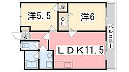 兵庫県加古郡播磨町古田1丁目の賃貸アパートの間取り