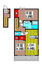 サングランドソレイユ 2階2DKの間取り