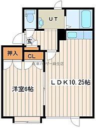 北成ハウスB 2階1LDKの間取り