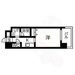 名古屋市営東山線 八田駅 徒歩1分の賃貸マンション 3階1Kの間取り