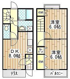 [テラスハウス] 神奈川県愛甲郡愛川町中津 の賃貸【/】の間取り