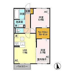 JR水戸線 結城駅 徒歩30分の賃貸アパート 1階2LDKの間取り