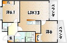 アビタシオン蒲生[7階]の間取り