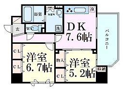 Osaka Metro堺筋線 天神橋筋六丁目駅 徒歩7分の賃貸マンション 5階2DKの間取り