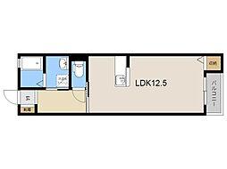 JR日豊本線 隼人駅 3.4kmの賃貸アパート 2階ワンルームの間取り