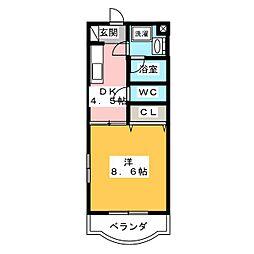 ラ・ミニヨン 2階1DKの間取り