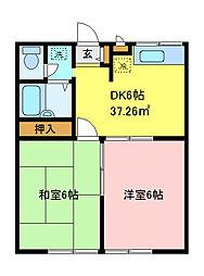 エステートピアマルイI[2階]の間取り