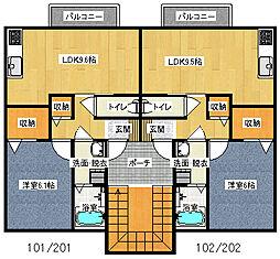 ロイヤルガーデン永田D[2階]の間取り