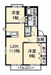 愛媛県松山市三町2丁目の賃貸アパートの間取り