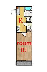 リーヴェルポート西横浜FERIO 3階1Kの間取り