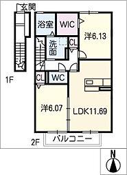 仮)D−room大井手 B棟[2階]の間取り