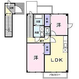 ルナガーデンB[2階]の間取り