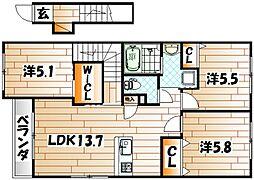 福岡県遠賀郡水巻町二東3の賃貸アパートの間取り