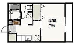 岡山県岡山市北区絵図町の賃貸アパートの間取り