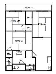 大阪府茨木市上中条1丁目の賃貸マンションの間取り