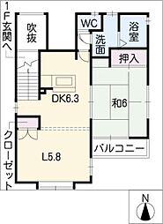 ドエル中新[2階]の間取り