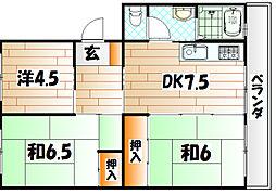 森田第三マンション[1階]の間取り
