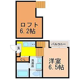 愛知県名古屋市東区矢田3丁目の賃貸アパートの間取り