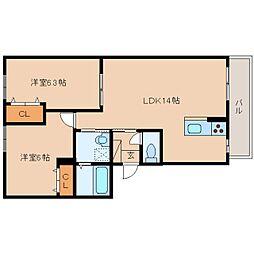 JR関西本線 王寺駅 バス10分 星和台2丁目下車 徒歩2分の賃貸アパート 3階2LDKの間取り