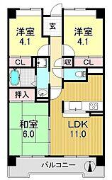 サニークレスト平野西脇[8O4号室号室]の間取り